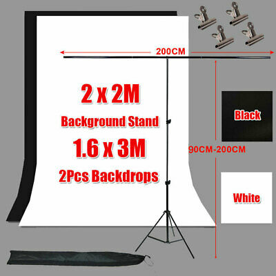 Photo Studio 2x 1.6x3m Black White Backdrop+T Type Background Support Stand Kit