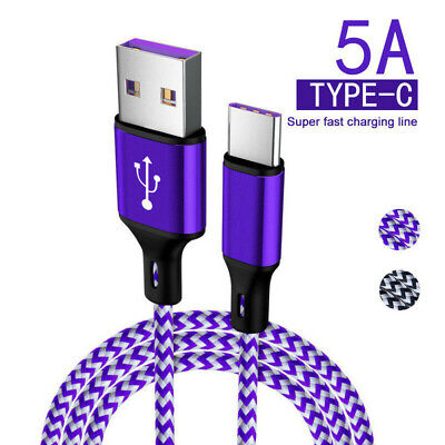 5A Braided Type C Fast Charging Cable USB-C Rapid Cord Power Charger Charge
