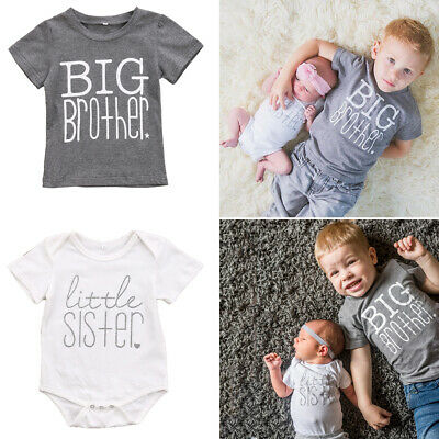 Toddler Baby Little Sister Romper Bodysuit Big Brother T-Shirt Summer Clothes