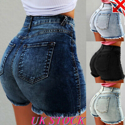Womens High Waisted Tassel Denim Jeans Shorts Ladies Wash Summer Hot Pants UK