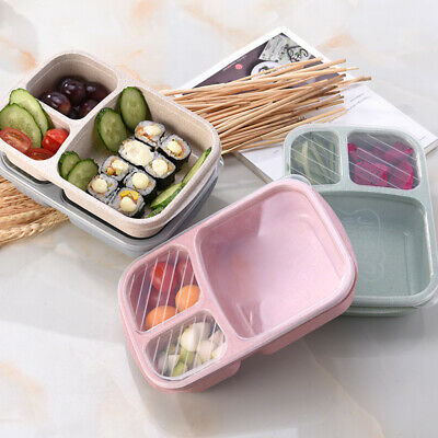 Portable 3-Grid Wheat Straw Lightweight Bento Lunch Box Food Storage Container
