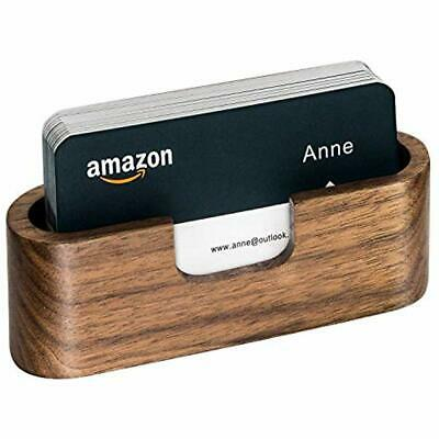 8a0d0a2cd0d7 BUSINESS CARD HOLDER Wood Desk Display Walnut Cards Case Wooden Name Stand