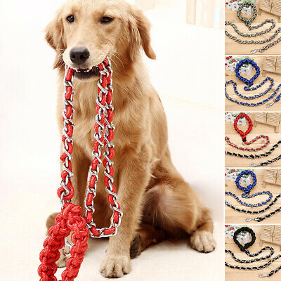 1*Pet Dog Long Anti-bite Dog Chain Lead Leash Collar Belt Strong Traction Rope