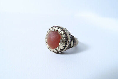 Alter getragener Ring mit Achat Fulani Kanuri AN28 Old Used Ring Bague Afrozip