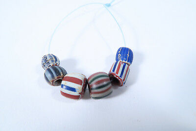 6 antike Glasperlen Chevron beads AG49 Speo Antique Trade beads perles Afrozip