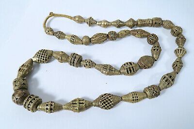 Strang Messingperlen Gelbguß AM85 Ghana Brass Beads Ashanti Akan Afrozip