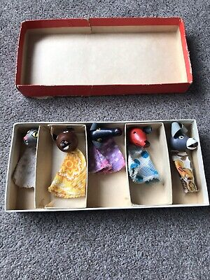 Vintage Retro Wooden Headed Finger Puppets Boxed