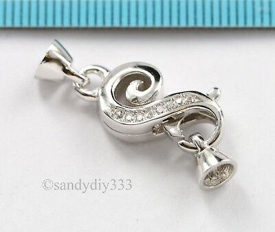 1x  Rhodium plated STERLING SILVER CZ BEADING CORD END CAP CONNECTOR CLASP #2953