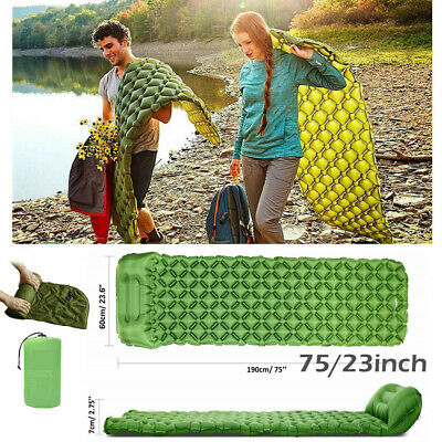 AU Inflatable Air Mattress Sleeping Pad Outdoor Bed Camping Beach Mat Ultralight