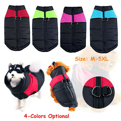 M-5XL Pet Dog Clothes Winter Warm Padded Coat Vest Jacket Apparel Waterproof