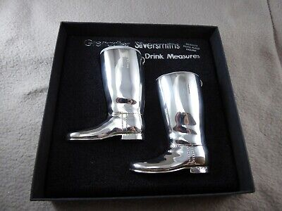 Boxed Pair of Grenadier Riding Boots Silver Plate Drinks Measures