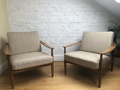 Pair Of Mid Century Modern Lounge / Reception Armchairs, Vintage, Retro Style.