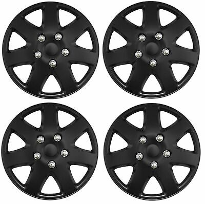 "15 Inch Universal Wheel Trims Car Covers Matte Black Plastic 15"" Set Of 4"
