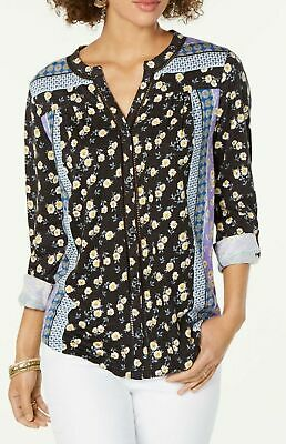 Style & Co Floral Crocheted Button Front Print Knit Top Shirt Blouse $45 JH