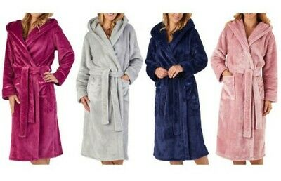 Slenderella Womens Luxury Thick Flannel Fleece Dressing Gown Hooded Bathrobe