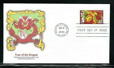 2000 Sc #3370  33c Chinese New Year  Dragon - Fleetwood cachets  FDC