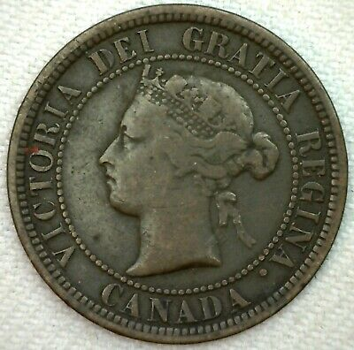 1882 H Canada Large Cent 1c Copper Canadian One Cent Coin YG You Grade K61