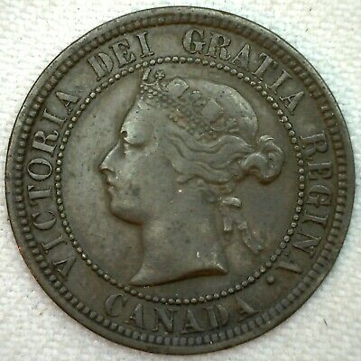 1876 H Canada Large Cent Coin 1c Canadian Copper Coin VF Very Fine K55