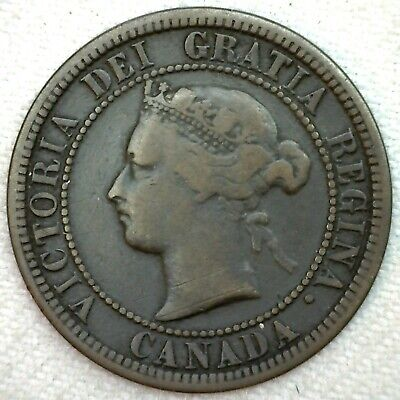 1881 H Canada Large Cent Coin 1c Canadian Copper Coin VG Very Good K57