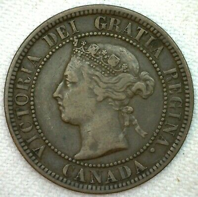 1882 H Canada Large Cent 1c Copper Canadian One Cent Coin VF Very Fine K69