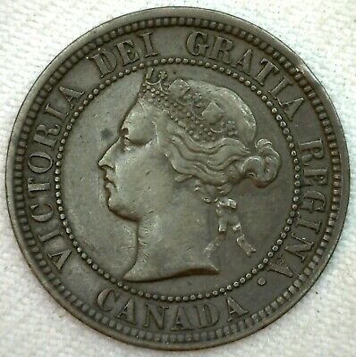 1876 H Canada Large Cent Coin 1c Canadian Copper Coin XF Extra Fine K56