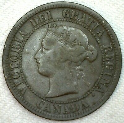 1876 H Canada Large Cent Coin 1c Canadian Copper Coin Fine K52