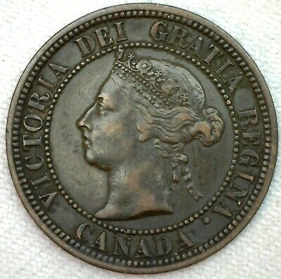1882 H Canada Large Cent 1c Copper Canadian One Cent Coin XF Extra Fine K72