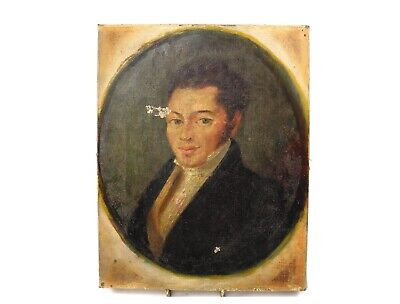 Early 19th century antique oil painting on canvas portrait of a gentleman signed