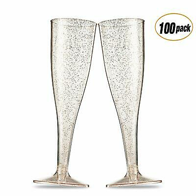 100 Pack Gold Glitter Plastic Champagne Flutes 5 Oz Clear Plastic Toasting Glass