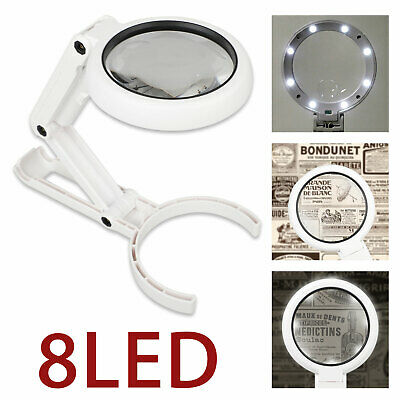 Dimmable Magnifying Crafts Glass Lens Desk Lamp 5/11X Magnifier With 8LED Light