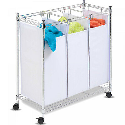 Laundry Sorter Wheels Rolling 3 Bags Clothes Storage Washer Locking casters
