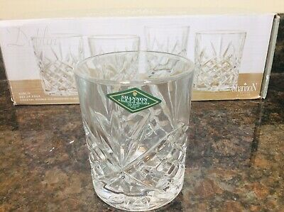NEW~Set of 4 Shannon Crystal DOUBLE OLD FASHIONED Glasses DUBLIN By Godinger