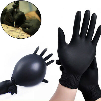 10Pcs Rubber Comfortable Disposable Mechanic Nitrile Gloves Black Medical Exam