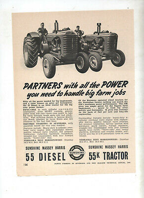 Sunshine Massey Harris 55 Tractor Advertisement removed from 1954 Farming Annual