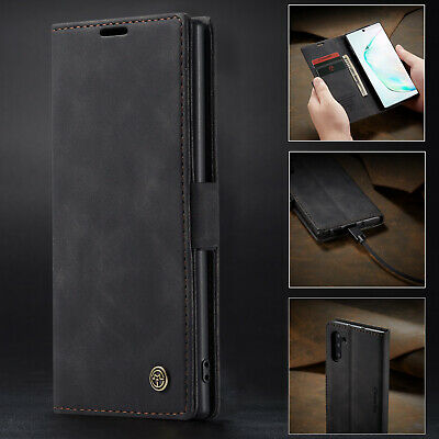 Genuine Leather Flip Wallet Case Cover For Samsung Galaxy Note 10 Plus S10 S9 S8