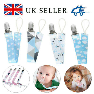 4X Beautiful Dummy Clip Baby Soother Clips-Chain Holder Pacifier Modern Design