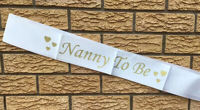 UK Baby Shower Sash Nanny To Be It's A Boy It's A Girl Party Decoration White