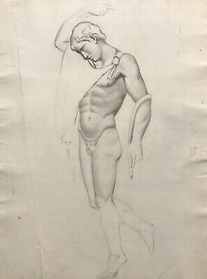 19Th Century French Realist Atelier Academie Drawing - Classical Male Nude