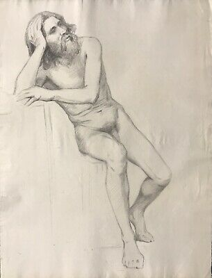 19Th Century French Realist Atelier Academie Drawing - Bearded Male Nude Model