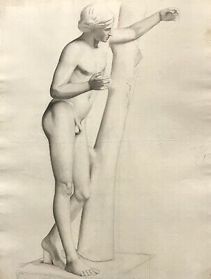 19Th Century French Realist Atelier Academie Drawing - Male Nude