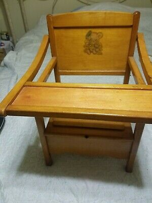 1950 Thayer tops for Tots retro vintage wooden potty chair