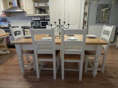 Large Hand Made , Bespoke Vintage Pine Farmhouse Dining Table & 6  Oak Chairs