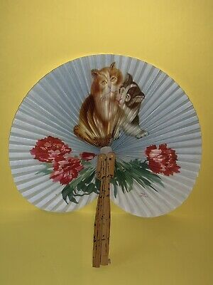 Collectable vintage oriental kitten pattern bamboo paper folding hand fan