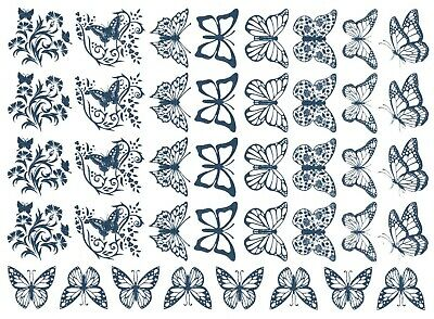 """Butterfly Blues 5"""" X 7"""" Card 40 pcs 3/4"""" to 1"""" Blue Fused Glass Decals 1175"""