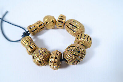 Vergoldete Messingperlen Gelbguß AM47 Ghana Brass Beads Ashanti Akan Afrozip