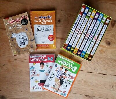 Diary of a Wimpy Kid Collection - 10 Book Set & DVDs 1 2 & 3 by Jeff Kinney