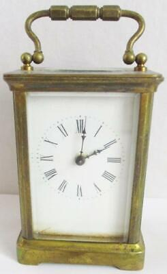 SUPERB VINTAGE  BRASS FRENCH CARRIAGE CLOCK MECHANICAL KEY WIND GWO with KEY