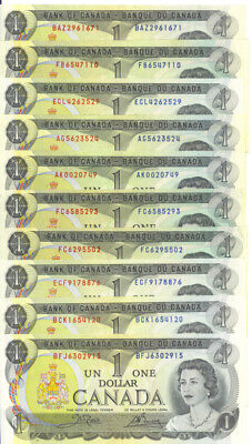 Bank of Canada 1973 $1 One Dollar Lot of 10 Notes EF $10 Face