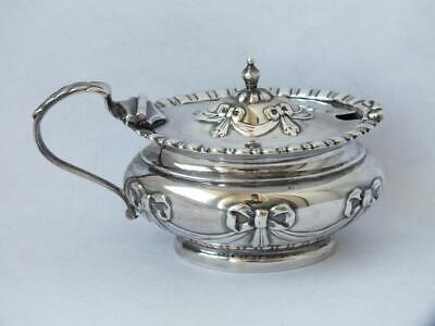 "Pretty Antique ""Swags"" Solid Sterling Silver Mustard Pot 1901/ L 8.8 cm"