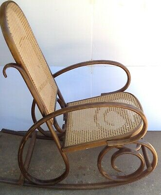 Iconic Thonet Style Birch Bentwood Rocker Rocking Chair Cane Rattan Back Seat